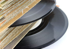 Old Vinyl Records. Close up of old Vinyl Records - focus on the record Royalty Free Stock Images