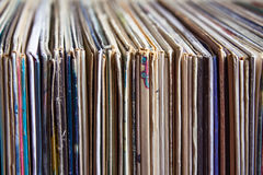 Old vinyl records, collection of albums Royalty Free Stock Photography