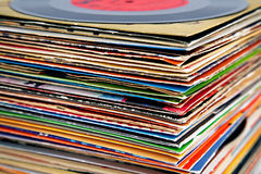 Old vinyl records pile Royalty Free Stock Photography