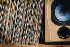 Old Vinyl records in the wooden shelf Stock Image