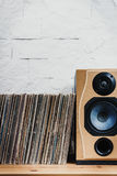 Old Vinyl records in the wooden shelf Royalty Free Stock Photography