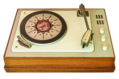 Old vinyl turntable player from the seventies isolated on white Royalty Free Stock Image