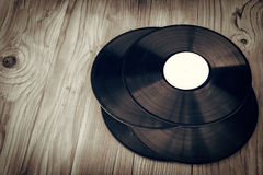 Old vinyls retro style. With wodden deks boards Stock Photo