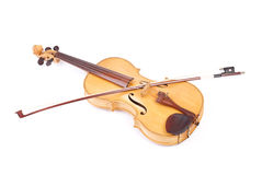 Old viola and a bow. Isolated ower white Stock Images
