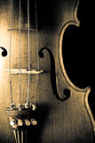 Old Violin. Antique, isolated on black background Stock Images