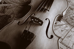 Old violin. Musical background instruments. Shot in studio Stock Image