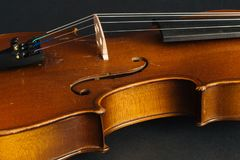 Old violin. On black background in the studio Royalty Free Stock Images