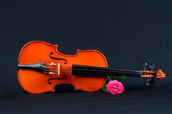 Old violin on black silk fabric with rose. Image of Old violin on black silk fabric with rose Royalty Free Stock Photography