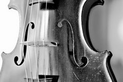 Old violin in black and white Royalty Free Stock Image
