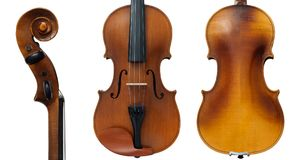 Old violin. From both sides: front, back and side view of a scroll  on white background Royalty Free Stock Photo
