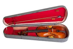 Old violin and bow in case Royalty Free Stock Images