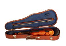 Old violin with the bow in hard cover Stock Photo