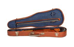 Old violin with the bow in hard cover Stock Image