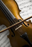 Old violin and bow on notation sheets closeup Stock Photography