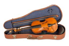 Old violin case with a bow. On a white background isolated Stock Photo