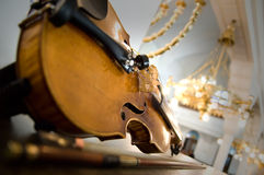 Old violin close-up Stock Photos