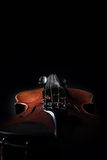 Old violin on dark background. Closeup view. Stock Photography