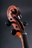 Old Violin head  on gray background Royalty Free Stock Photos