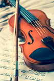 Old violin lying on the sheet of music, music concept Royalty Free Stock Photography
