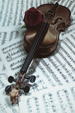 Old violin with musical notes and rose Stock Photos