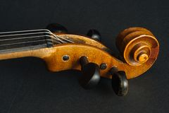 Old violin. On black background in the studio Royalty Free Stock Photo