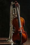 Old violin and trumpet on a black background.  Stock Photography