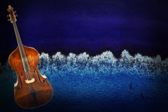 Old Violin On Vintage Background Stock Images