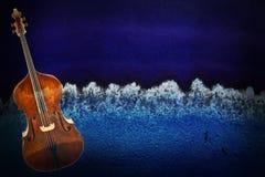 Old Violin On Vintage Background Stock Images