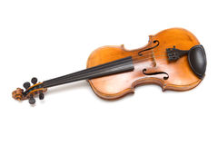 Old violin on the white. Stock Photo