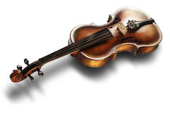Old violin on white background. Musical instrument, old violin on a white background Royalty Free Stock Photography
