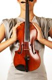 Old violin in woman hands Royalty Free Stock Images