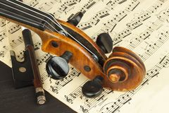 Old violin on wooden table. Detail of old violin. Invitation to the Violin Concerto. I love classical music. Sale of antique violi Royalty Free Stock Photos