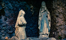 Old virgin - La Serena city, Chile. Very old virgin praying in a cave stock images
