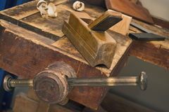Old vise and tool in a workshop still-life Royalty Free Stock Photo