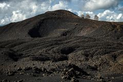 Old volcanic crater of Nunziata Mount in Etna Park royalty free stock photo
