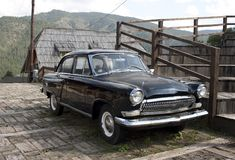 Old Volga car. Originated in the soviet union in Drvengrad village stock photo