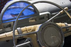 Old Volga dashboard and wheel. Stock Images