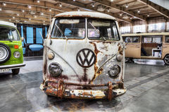 Old Volkswagen Transporter on static display. At the International Fair in Poznan. The first edition of automotive party called Retro Motor Show royalty free stock images