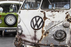 Old Volkswagen Transporter on static display. At the International Fair in Poznan. The first edition of automotive party called Retro Motor Show royalty free stock photography
