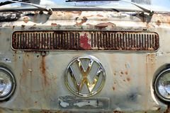 Old Volkswagen van grill with sign Royalty Free Stock Image