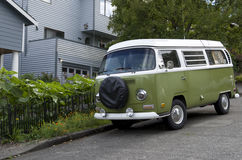 Old Volkswagen van. An old Volkswagen parked in front of an old house in Seattle royalty free stock photography