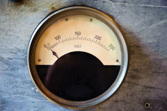 Old Volt meter. Old electric Volt meter scaling from 0 to 250 Volts Royalty Free Stock Photos