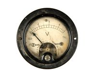Old voltmeter. Close-up of an ancient voltmeter, isolated on white royalty free stock images