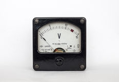 Old voltmeter arrow stock photography