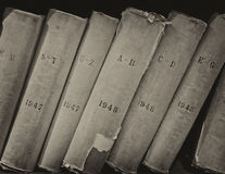 Old volume of library books Royalty Free Stock Images