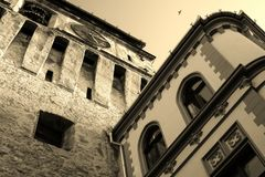 Old vs new building in Sighisoara, Transylvania, Romania royalty free stock photography