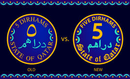 Old Vs New Five Dirhams Coins Of The State Of Qatar Stock Photos