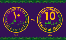 Old Vs New Ten Dirhams Coins Of The State Of Qatar Royalty Free Stock Image