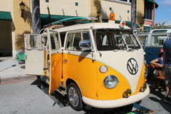 Old VW ambulance. Old Volkswagen Transporter ambulance parked outdoors on a sunny Miami day stock images