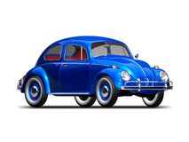 Old VW Beetle. 3D render of VW Beetle on white background Royalty Free Stock Photos